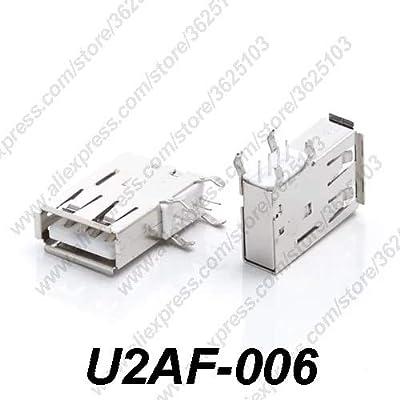 Gimax 10PCS U2AF-006/U2AF-006P USB 2.0 Connector H=19.5MM Side Insert Charging Socket USB 2.0 Female Jack Data Transmission Long Body