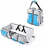 Best Deals - Travel Bed and Diaper Bag for Baby (Grey with Sky Blue)