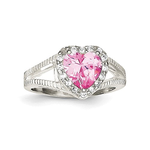ICE CARATS 925 Sterling Silver Pink Cubic Zirconia Cz Heart Band Ring Size 8.00 S/love Fine Jewelry Ideal Mothers Day Gifts For Mom Women Gift Set From Heart (Ring Ice Heart Pink)