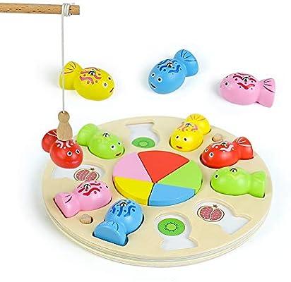 Fajiabao 3 en 1 Juego de Pescar para Niños Magnético de Madera con Mini Tangram - Juegos de Mesa para Niños Montessori Educativos Puzzle Infantiles Regalo Niñas Niños 3 4 5 6 Años: Amazon.es: Juguetes y juegos