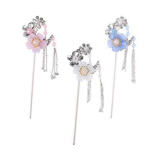 SM SunniMix Pack of 3 Beaded Flower Hair Stick Chopstick Flower Hairpin Chignon Pin Tassel Pendant ()