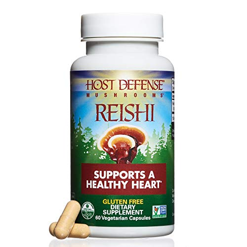 Host Defense - Reishi Mushroom Capsules, Naturally Supports a Healthy Heart and Cardiovascular System, Energy, Stamina, and Stress Response, Non-GMO, Vegan, Organic, 60 Count ()