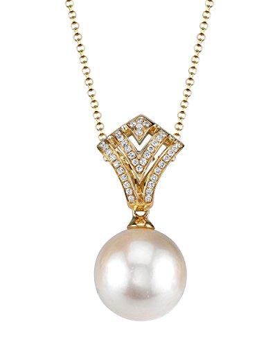 Pendentif Perle de culture Akoya et diamant or 18K Ava