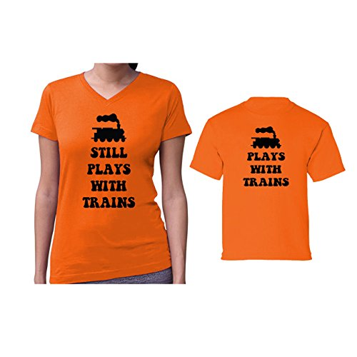 We Match! Plays with Trains & Still Plays with Trains Women's V-Neck & Children's Matching T-Shirt Set (18M Child, Women's Cut 2XL, Orange) ()