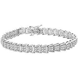 Sterling Silver Round Cut Diamond Fan-Shaped Bracelet (1.90 cttw, I-J Color, I2-I3 Clarity)