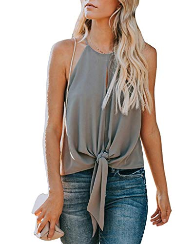 - avakess Women's Summer Sleeveless Crew Neck Tank Tops Camis Front Tie Knot Casual Shirt Keyhole Front Blouse Grey