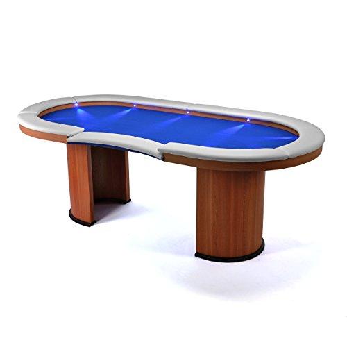 Casino Tisch Profi mit LED Beleuchtung Pokertisch Glücksspiel Spielhalle massiv