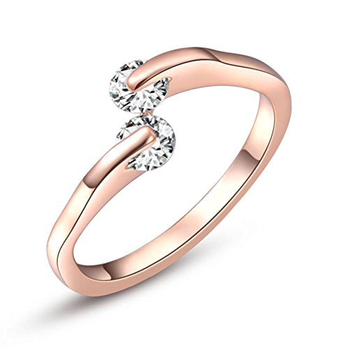 Copper Promise Ring (Suyi Women Copper Simple Rings with Zircon 6)