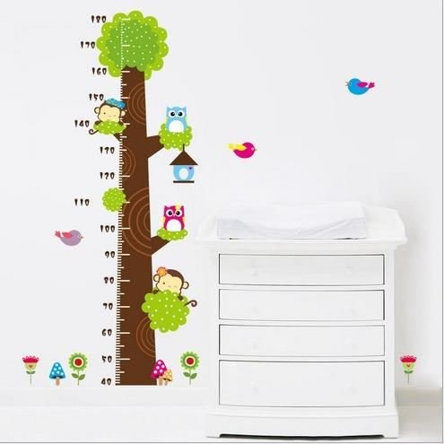 kimberleystore Creative Kid Höhe messen Diagramm Wandtattoo mit Eule und Affe Baum Decor