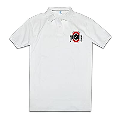 Men Ohio State Buckeyes Logo Short Sleeve Pique Polo T Shirt White Size