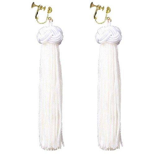 Handmade Bohemian White Fringe Clip on Dangle Earrings Long Tassel Prom Bar for Girls Women Dress Up