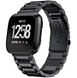 Black Stainless Steel Three Bead Chain Smart Watch Strap Band For Fitbit Versa Smart Watch Replacement Wrist Band