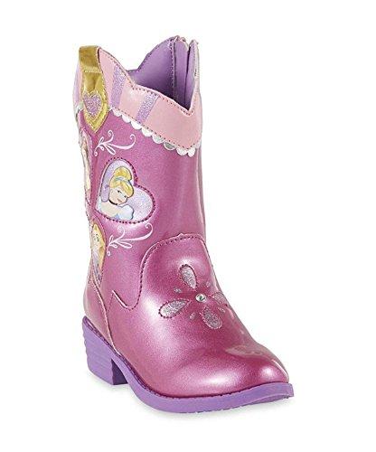 Disney Toddler Girls Princess Pink Western Boot with Cinderella, Rapunzel and Belle
