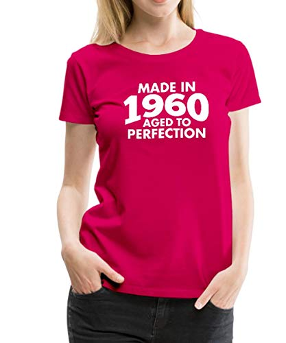 (Spreadshirt Made in 1960 - Aged to Perfection Women's Premium T-Shirt, M, Dark Pink)