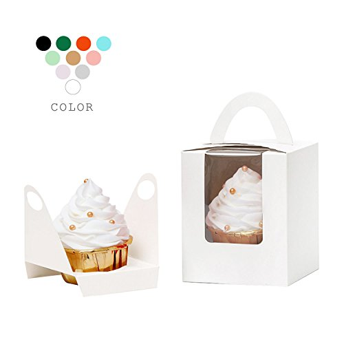 YoTruth White Cupcake Boxes Single 50 Count with Clear Window Inserts Handle for Wedding Cupcake Favor Boxes Easy (Wedding Cupcake Boxes)
