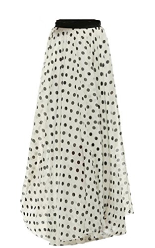 FashionShop365 Women's Retro Vintage Double Layer Chiffon Pleat Maxi Long Skirt Dress White Black - Vintage Sheer Skirt