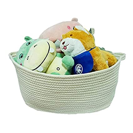 Large Rope Woven Storage Basket with Handles for Clothes,Blankets,Toys Nursery Organizer,Collapsible Storage Bin Laundry Baskets