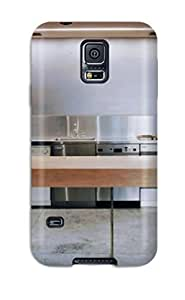 EJOOdZs15973AeifD Case Cover, Fashionable Galaxy S5 Case - Stainless Back Wall Kitchen With Factory-grade Vertical Support Beam And Floating Wooden Island by mcsharks