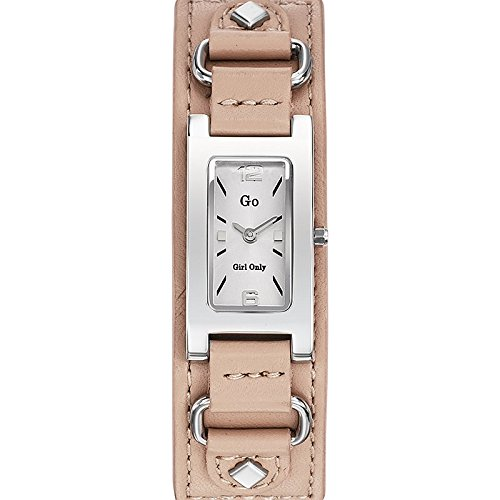 GO Girl Only - 696072 - Reloj Mujer - Cuarzo Analógico - Reloj Plata - Pulsera Piel Beige: Amazon.es: Relojes