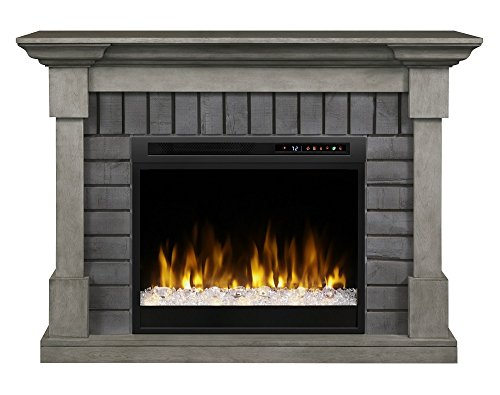 Fireplace Brick Stand (Dimplex Electric Fireplace, Media Console, TV Stand and Entertainment Center with Multiple Storage Cabinets and Glass Ember Bed in Smoke Stack Grey Finish - Royce #GDS28G8-1924SK)