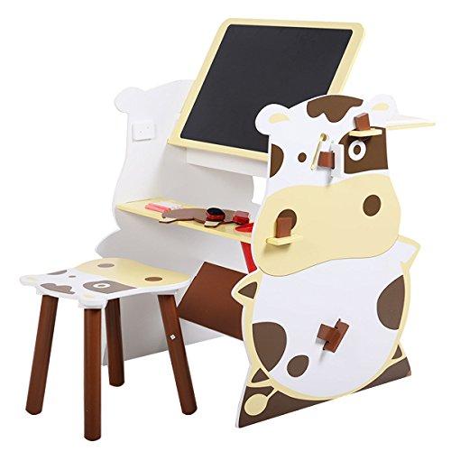 Giantex 3 in 1 Kids Art Master Desk Mutifunctional Drawing Board Easel Creative Desk Stool Art Studio Set