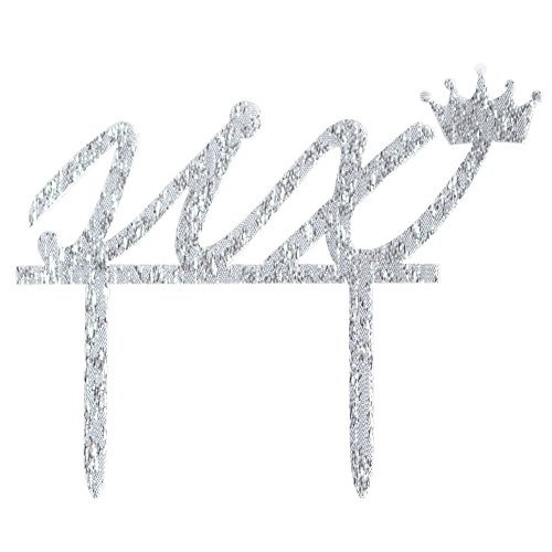 Glitter Silver Acrylic 6th Birthday Cake Topper Decoration,
