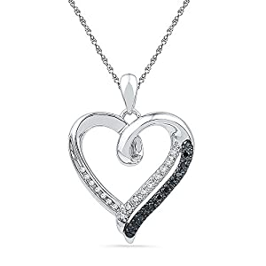 Sterling Silver Black & White Round Diamond in Heart Pendant (1/10 cttw)