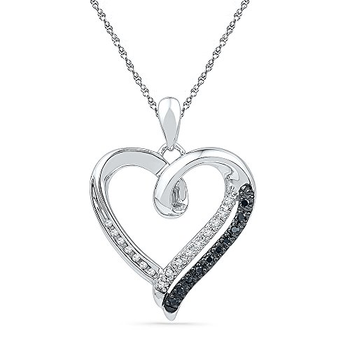 Sterling Silver Black & White Round Diamond in Heart Pendant (1/10 cttw) -