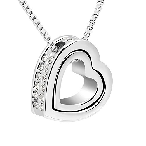 Xingzou Womens Silver Color Double Heart Pendant Necklace Made with Swarovski Elements Clear Crystal ()