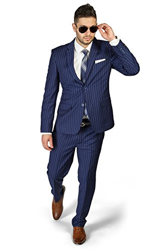 Slim Fit 2 Button Notch Lapel PinStripe Suit Flat Front Pants 1688 By AZAR MAN (38 Regular 32 Waist 32 Length , NAVY BLUE)