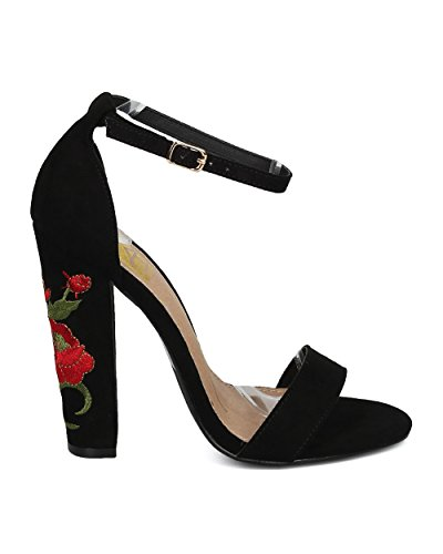 Sandalias De Tacón Alto Con Bordado De Mujer Alrisco - Tacón Grueso Floral - Zapato De Fiesta Formal De Noche Elegante Y Versátil Para Niñas - Hd49 De Fahrenheit Collection Black Mix Media
