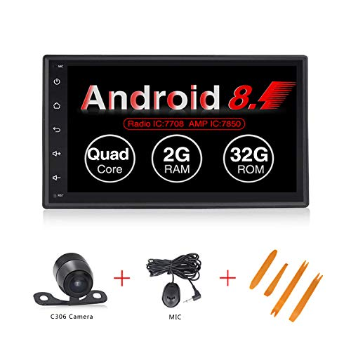 (Android 8.1 2+32GB Ultra Thin Universal Car Multimedia System GPS Navigation 7 inch Touch Screen Double Din Built in WiFi Car Radio for Old car …)