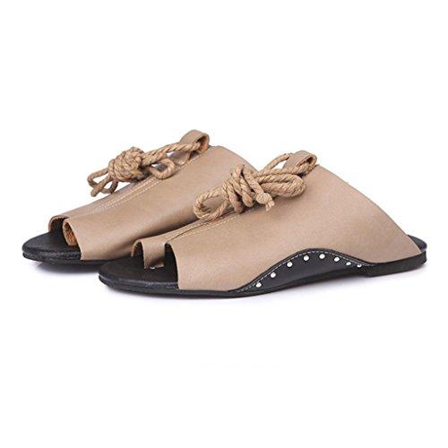 DEESEE(TM) New Arrivals Women Girls Flat-bottomed Roman Sandals Open Ankle Flat Straps Platform Wedges Shoes Khaki