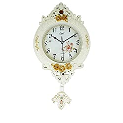 Graces Dawn 21.5'' Light-weight Antique Retro Elegant Decorative Clocks Ultra Mute Silent Quartz Movement Wall Clock with Swinging for Kitchen Living Room Home Decoration(white)