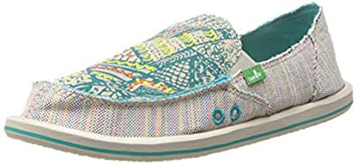 Sanuk Women's Scribble Sidewalk Surfer Loafer,Teal Multi,5 M US