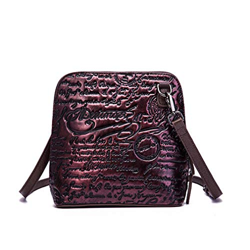 (Women Shell Messenger Crossbody Bag Leather Embossed Vintage Shoulder Bags Ladies Fashion Handbags)