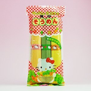 Hello Kitty Somen green and yellow vegetables containing 300g X5 bag set (Hello Kitty green and yellow vegetables noodles) (Kanesu noodle) - Hello Kitty Pumpkin