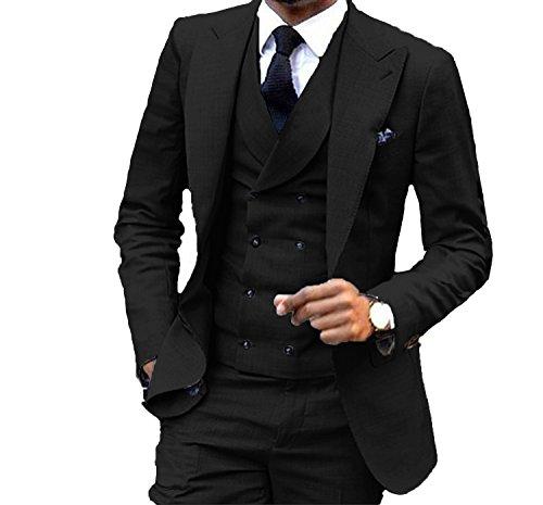 Jacket Peak Tuxedo Double Breasted (JY Men's Fashion 3 Pieces Men Suits Wedding Suits for Men Groom Tuxedos)