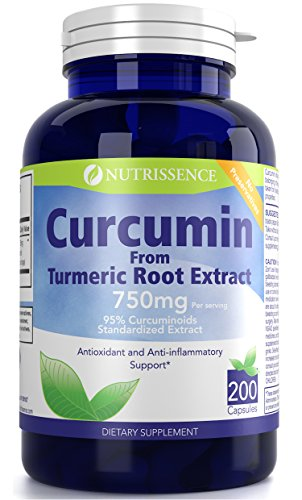 Curcumin from Turmeric Root Extract 200 Capsules – 750mg Curcuminoids 95% Standardized – Nutrissence Turmeric Curcumin Supplement For Sale