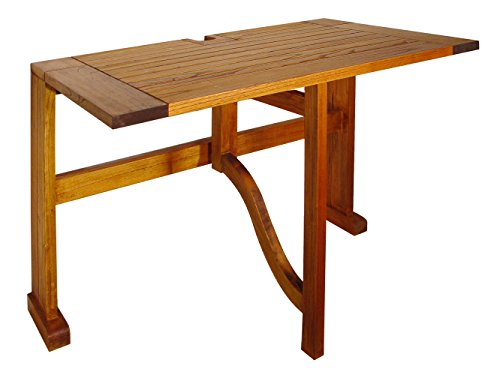 Blue Star Group Terrace Mates Villa Half Square Table, Natural Wood Stain