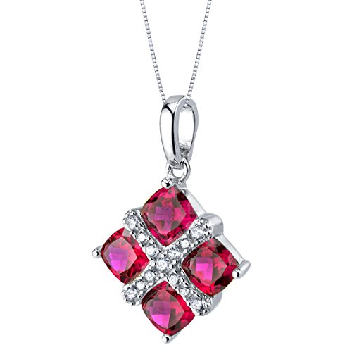 Sterling Silver Four Stone Quad Pendant Necklace in Various Gemstones