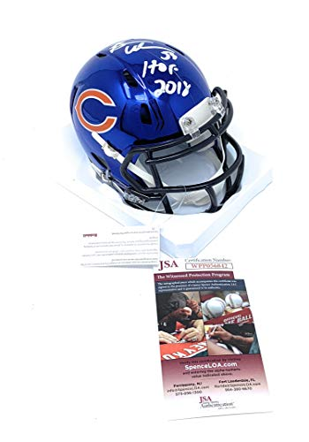 Brian Urlacher Chicago Bears Signed Autograph CHROME Speed Mini Helmet HOF Inscribed JSA Witnessed Certified ()