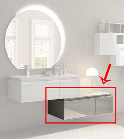 Cassettiera per mobile bagno sospeso moderno Avril bianco lucido ...