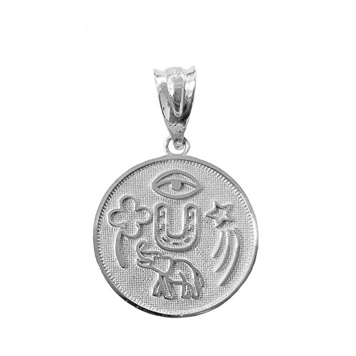 Solid 10k White Gold Lucky Charms Amulet Good Luck Medallion Pendant