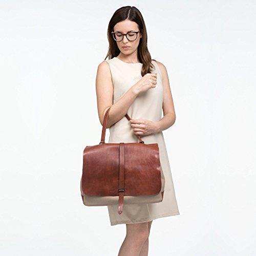 DUDU Borsa a Tracolla staccabile Grande in Pelle e tessuto da Donna modello da Postino Messenger con Maniglia Marrone scuro
