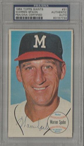 1964 Topps Giants Baseball Warren Spahn Autographed Card PSA/DNA Certified