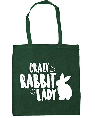 HippoWarehouse Crazy rabbit lady Tote Shopping Gym Beach Bag 42cm x38cm, 10 litres Bottle Green