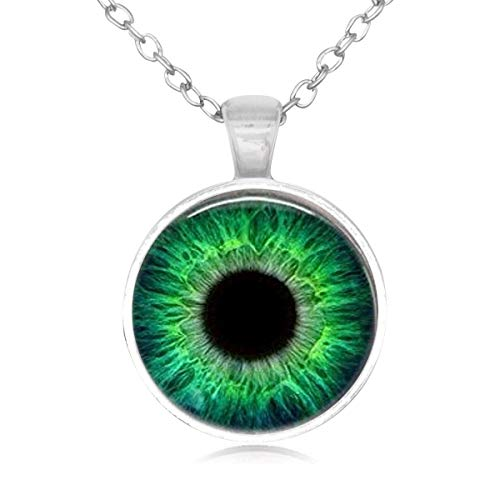 Lightrain Charm Green Cat Eye Glass Cabochon Charm Pendant Necklace Long Sliver Chain Statement Necklace Fine Jewelry