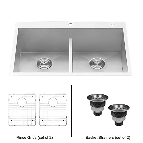 - Ruvati 33-inch Drop-in Low-Divide Zero Radius 50/50 Double Bowl 16 Gauge Topmount Kitchen Sink - RVH8055