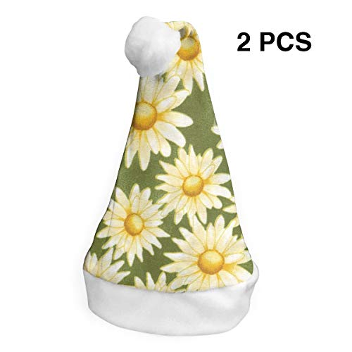 TNC2P Yellow Daisy Pattern Santa Hat for Adults Or Child Polyester Flannel & Comfort Liner Christmas Halloween Costume ()